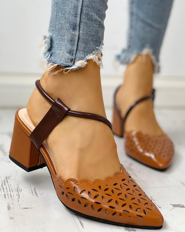Scalloped-edge Hollow Out Closed Toe Chunky Heels