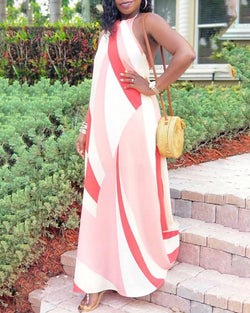 Halter Colorblock Open Back Maxi Dress