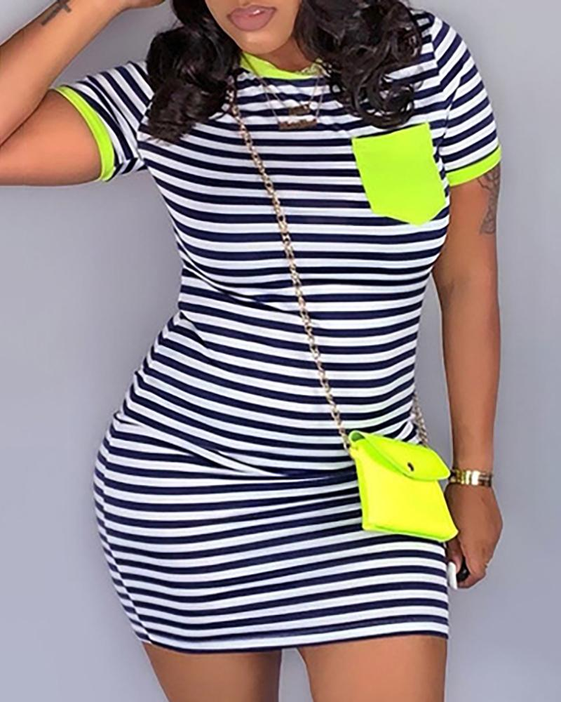 Striped Pocket Design Short Sleeve Bodycon Dress