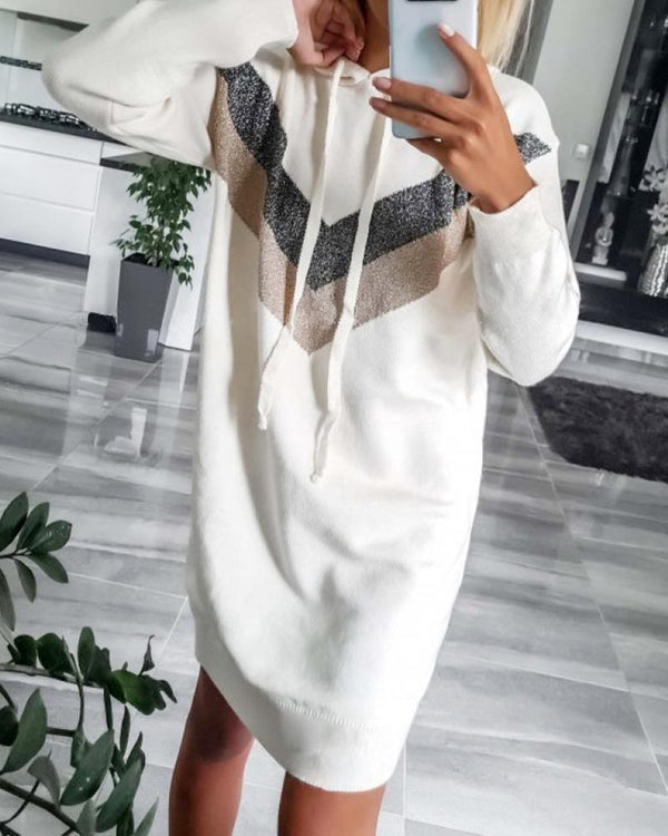 Hooded Drawstring Colorblock Insert Sweatshirt Dress