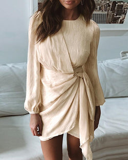 Solid Round Neck Surplice Wrap Tied Ruched Dress