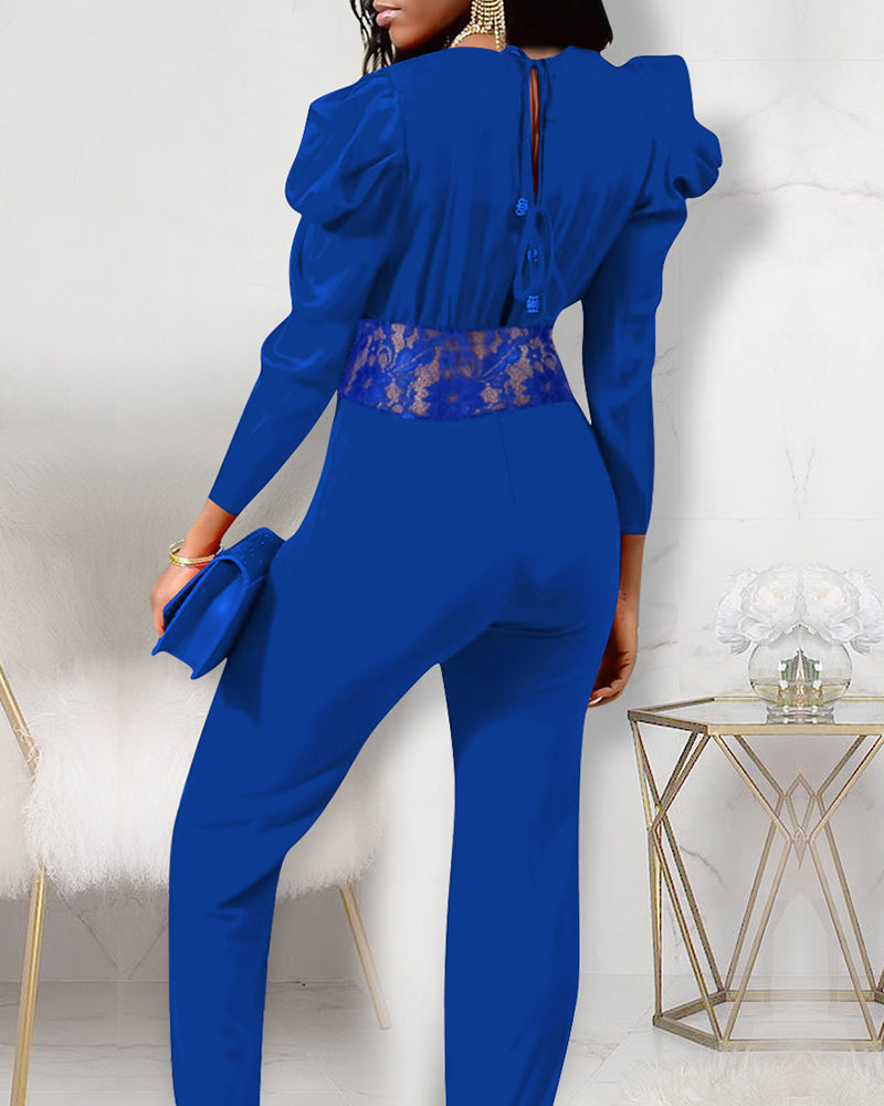 Puffed Sleeve Lace Patchwork Jumpsuit
