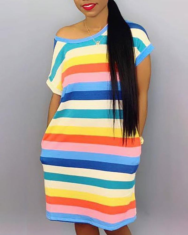 Rainbow Print Casual Dress