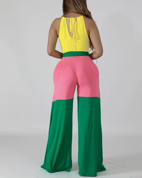 Halter Colorblock Insert Casual Jumpsuit