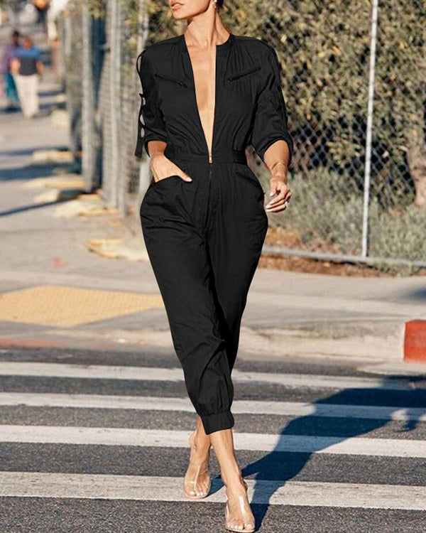 Solid Plunge Long Sleeve Cargo Jumpsuit