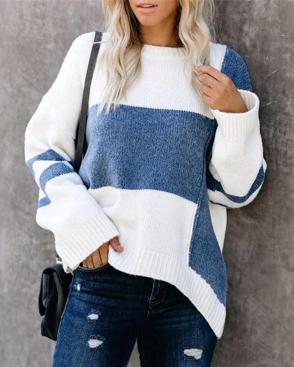 Round Neck Colorblock Long Sleeve Knitting Sweater