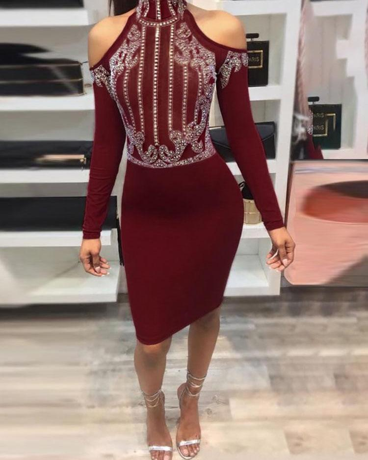 Studded Cold Shoulder Bodycon Dress