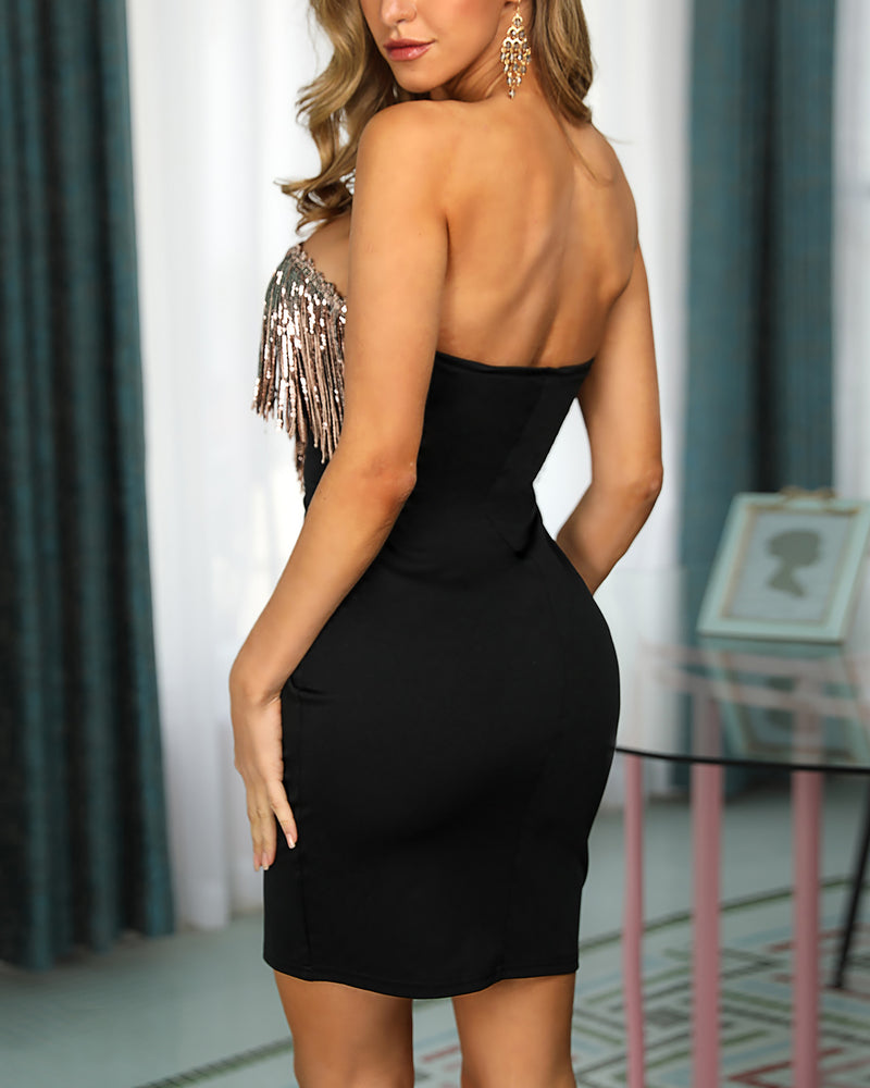 Sequins Tassel Design Backless Bodycon Dress