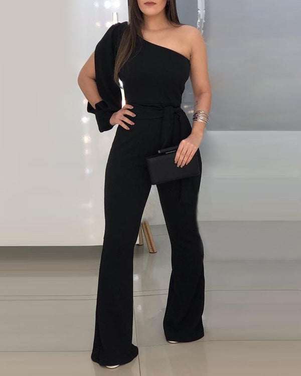 Solid One Shoulder Knotted Jumpsuit