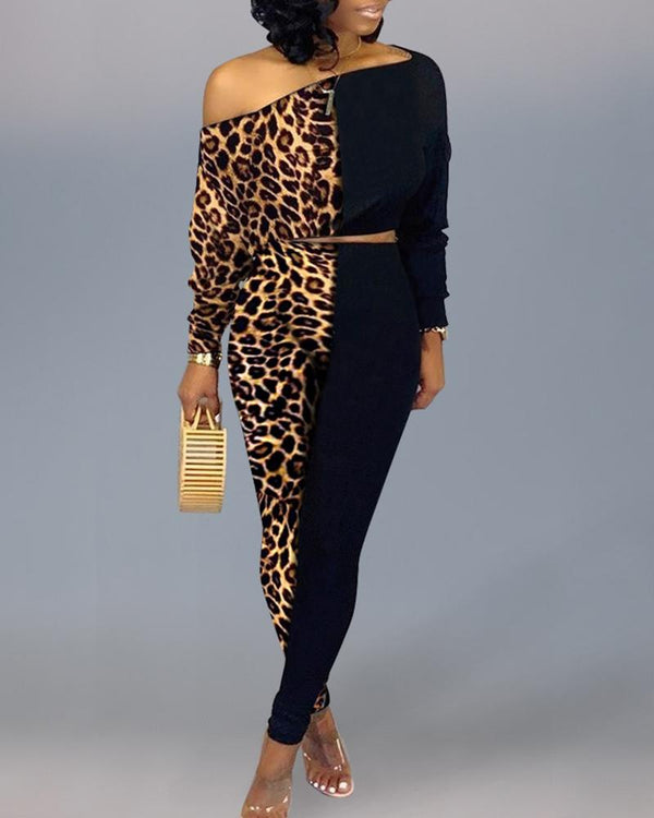Skew Neck Colorblock Insert Leopard Top & Pants Sets