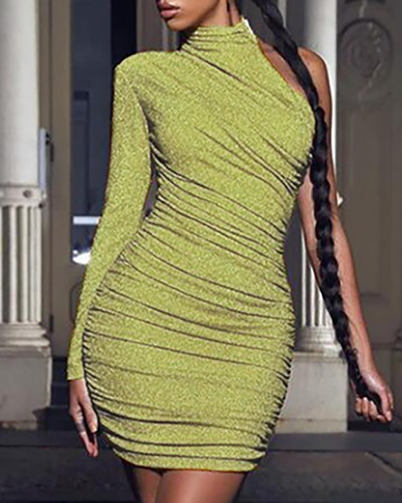 Glitter One Shoulder Ruched Bodycon Dress
