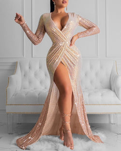 Glitter Plunge High Slit Ruched Sequins Dress