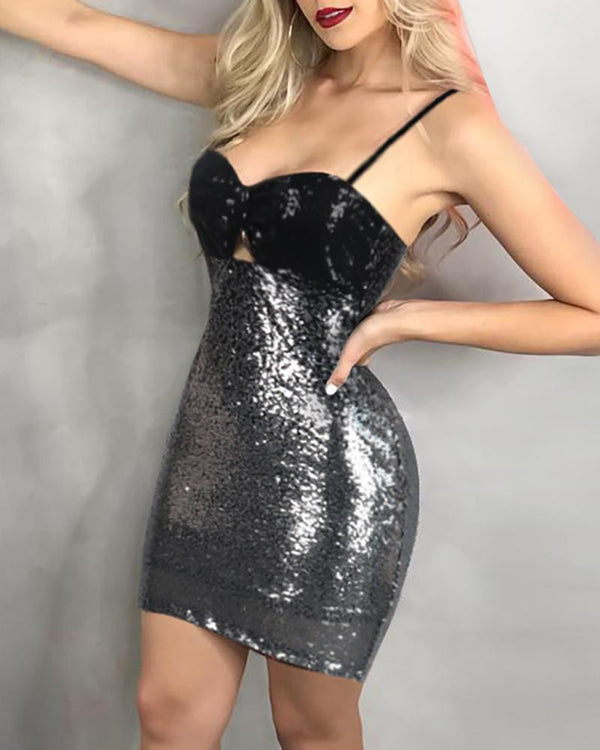 Glitter Spaghetti Strap Colorblock Sequins Bodycon Dress