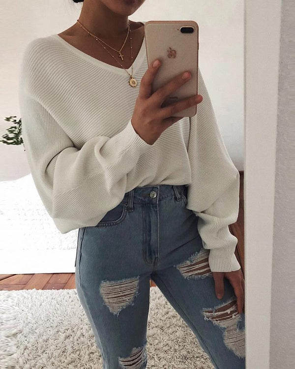 Long Puff Sleeve V-Neck Casual Sweater