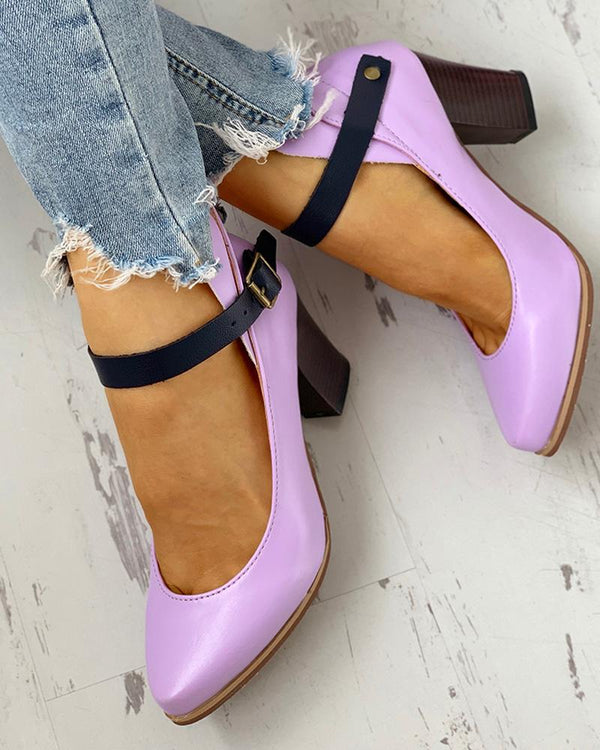 Pointed Toe Ankle Buckled Chunky Heels