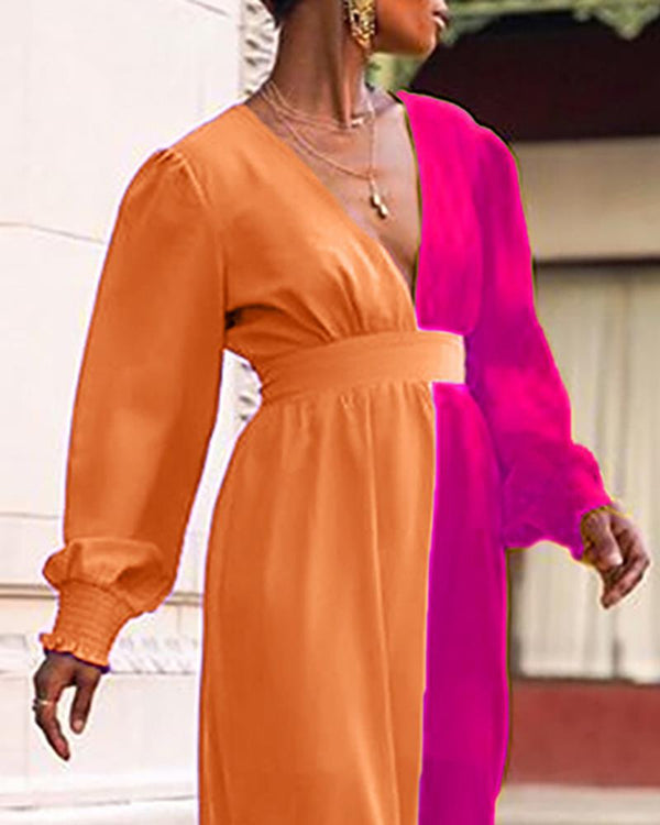 Colorblock Lantern Sleeve Maxi Dress