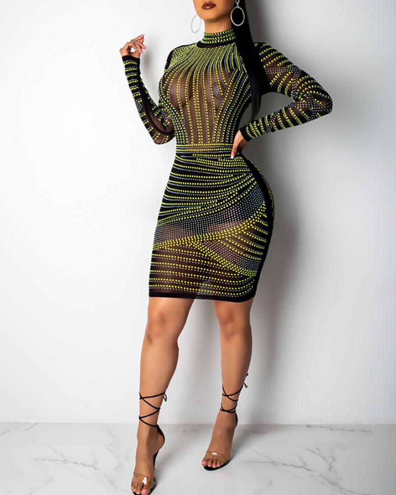 Mesh Perspective Party Dress