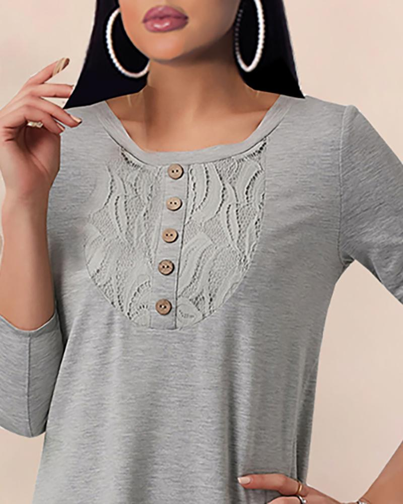 Buttoned Lace Long Sleeve Casual Blouse