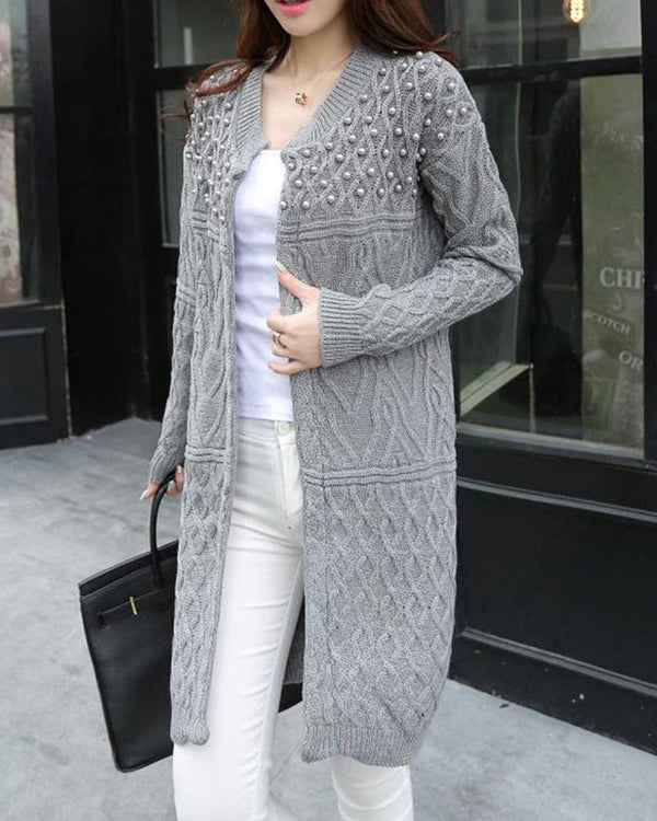 Solid Open Front Studded Cardigan