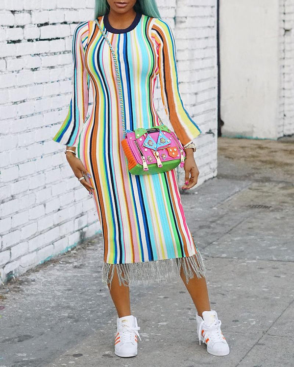 Colorful Striped Long Sleeve Tassel Hem Dress