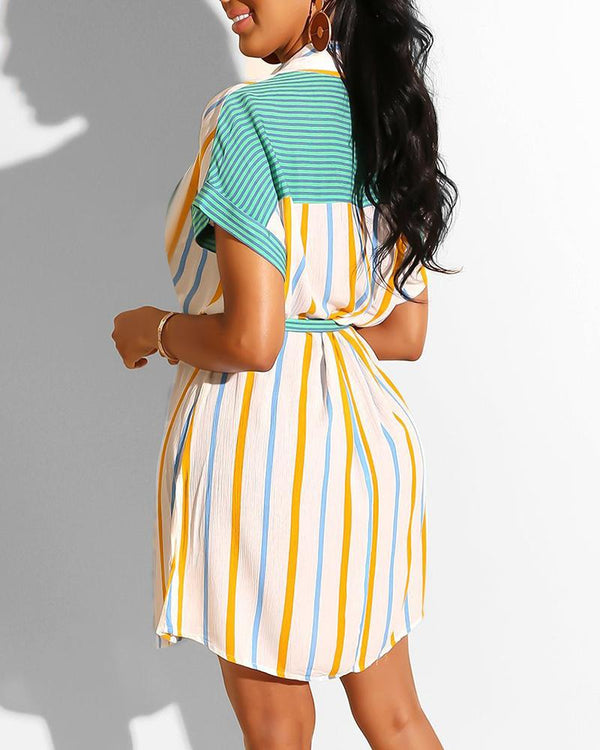 Short Sleeve Contrast Shirt Dress
