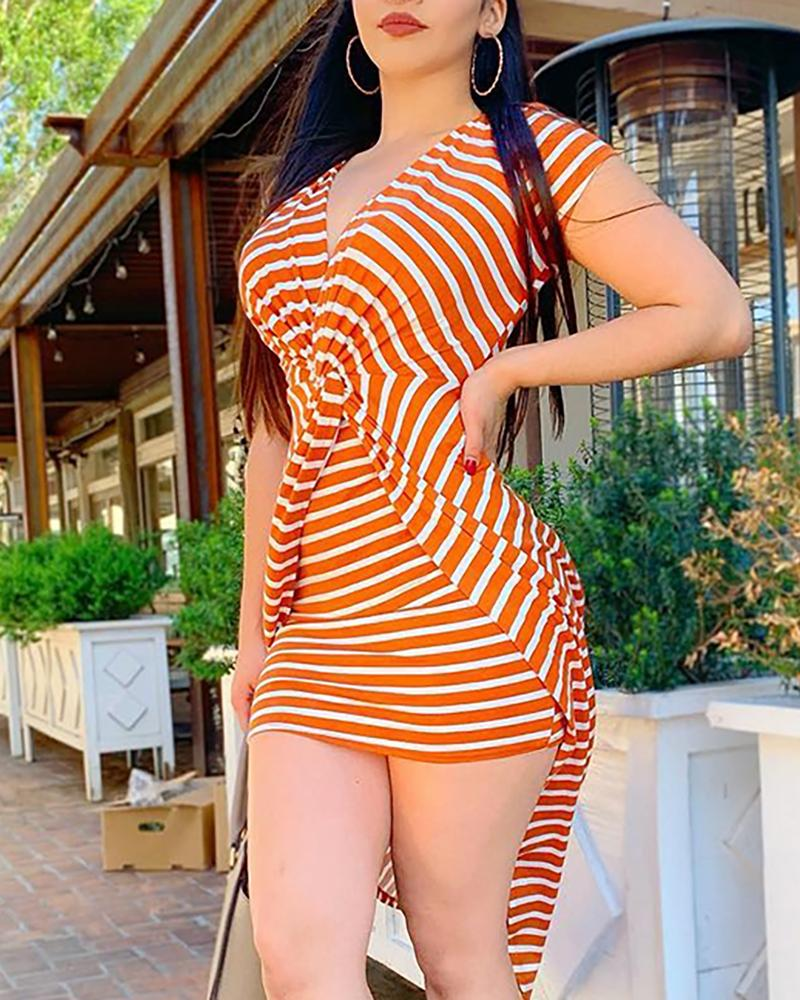 Striped Twist Short Sleeve Bodycon Dress