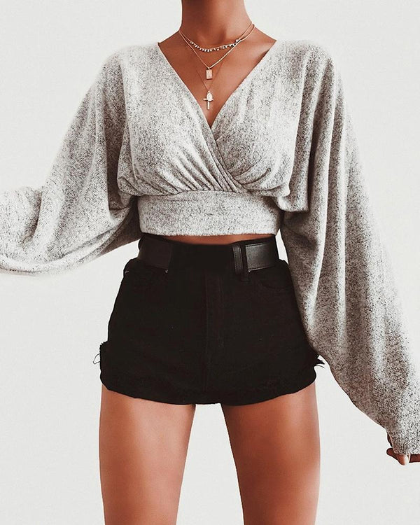 Solid Batwing Sleeve Ruched Crop Blouse