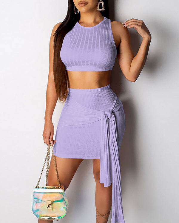 Crop Top and Knot Side Skirt Set