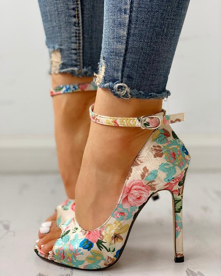 Floral Peep Toe Ankle Strap Heeled Sandals