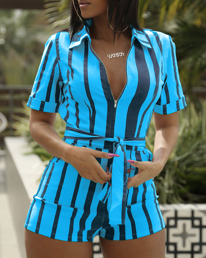 Striped Zipper Self Belted Casual Romper