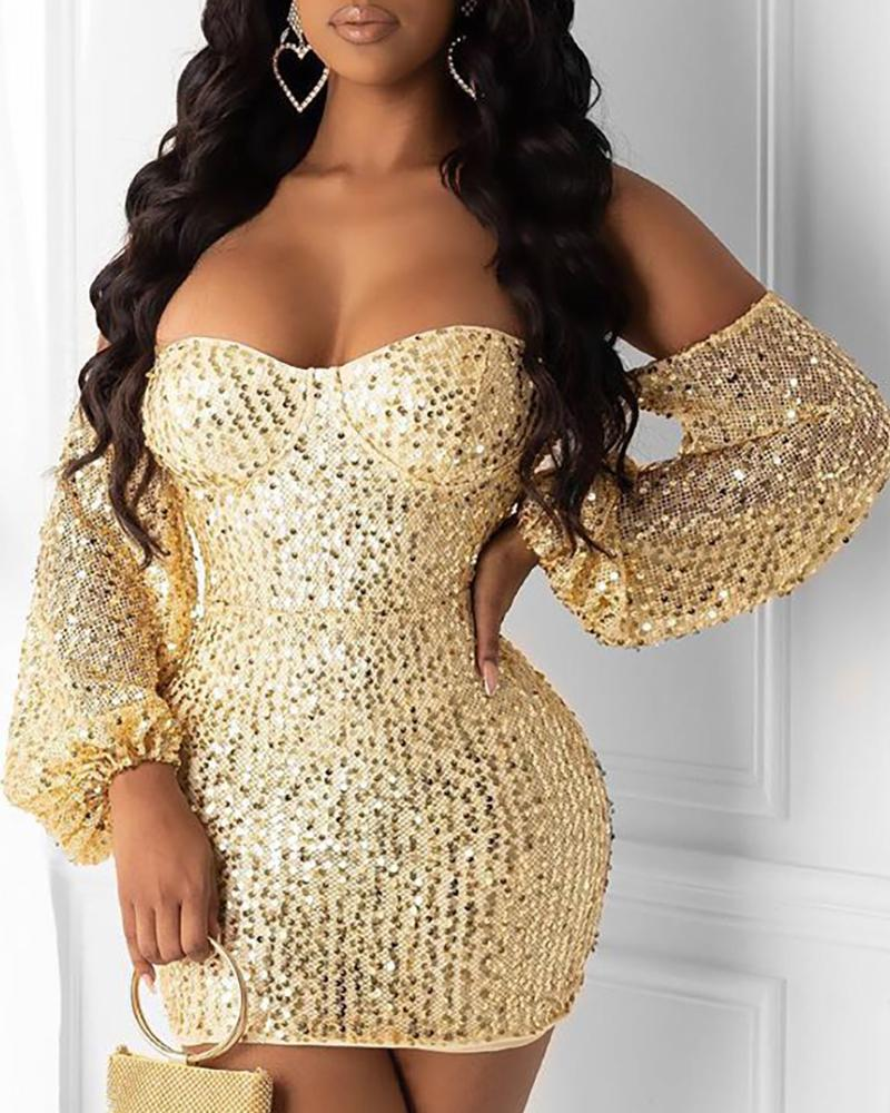 Glitter Off Shoulder Lantern Sleeve Sequins Bodycon Dress