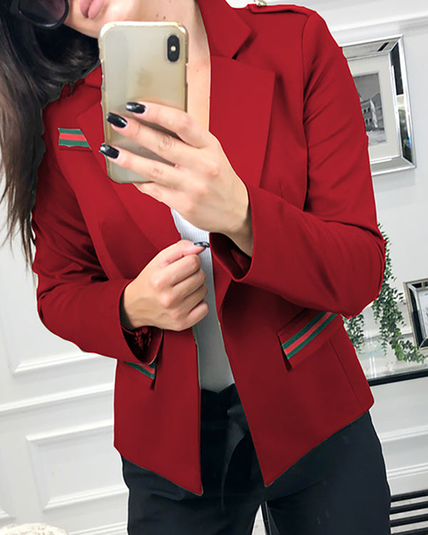 Solid Long Sleeve Pocket Blazer Coat