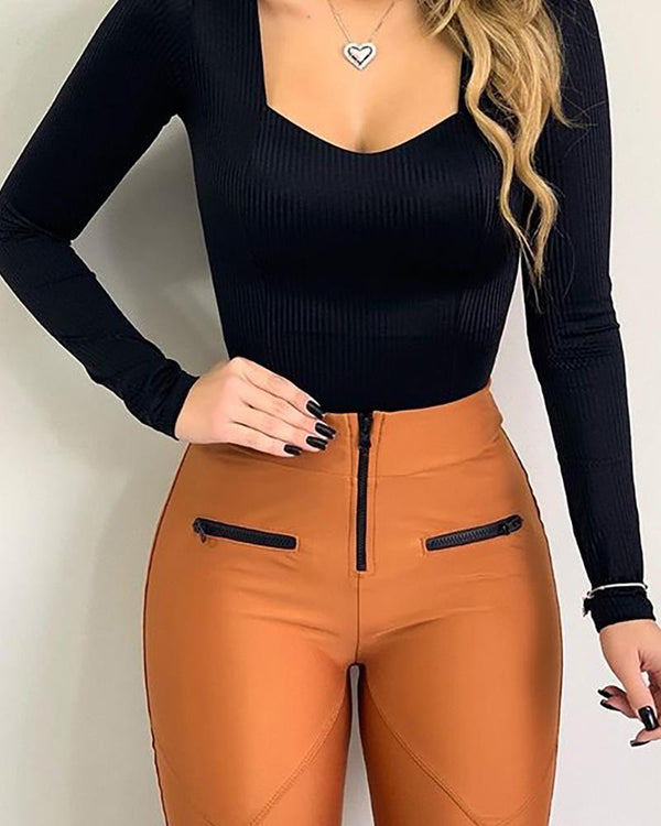 Solid Long Sleeve Square Neck Top