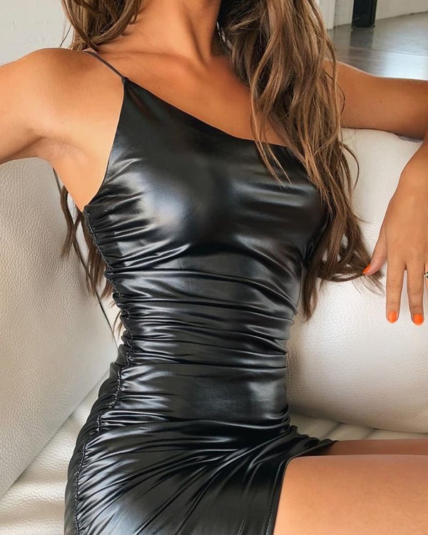 Leatherette Bodycon Spagetti Strap Dress
