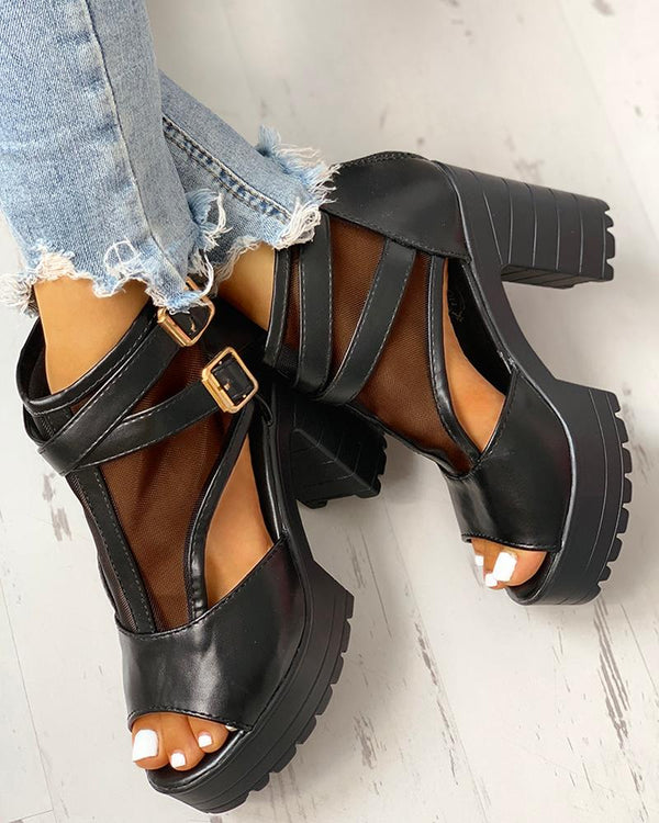 Patchwork Mesh Hollow Out Platform Chunky Heeled Sandals