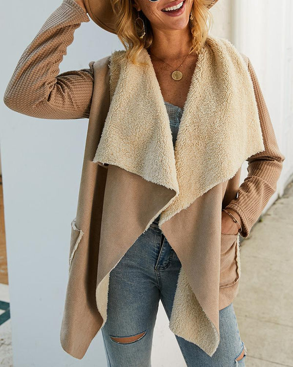 Waterfall Collar Pocket Long Sleeve Fluffy Coat