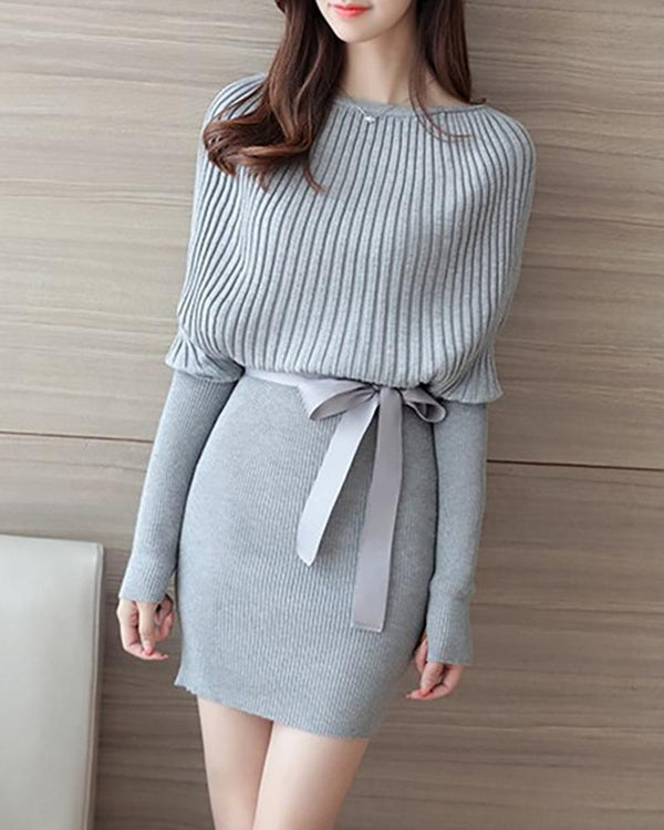 Solid Batwing Sleeve Ribbed Knitting Sweater Dress