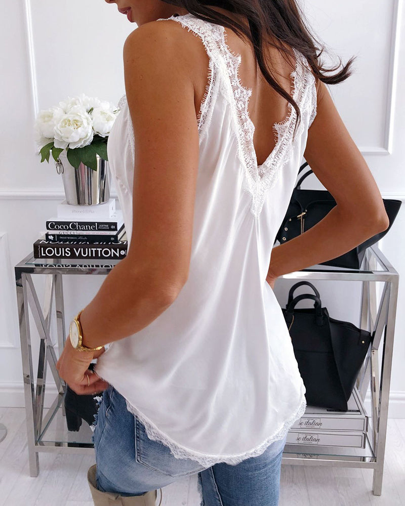 Eyelash Lace Trim Satin Sleeveless Top