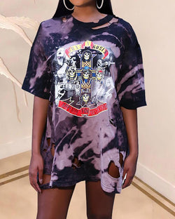 Skeleton Print Tie Dye Cutout T-shirt Dress