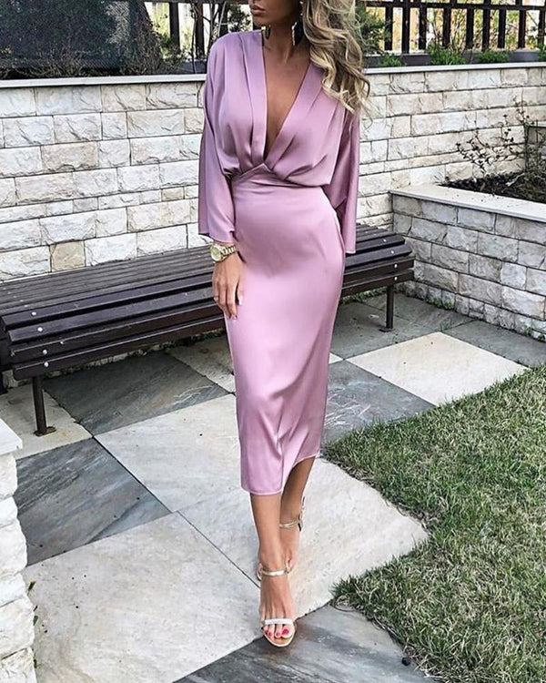 Solid Plunge Ruched Tight Waist Dress