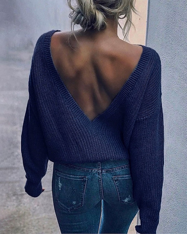 Solid Long Sleeve Backless Sweater