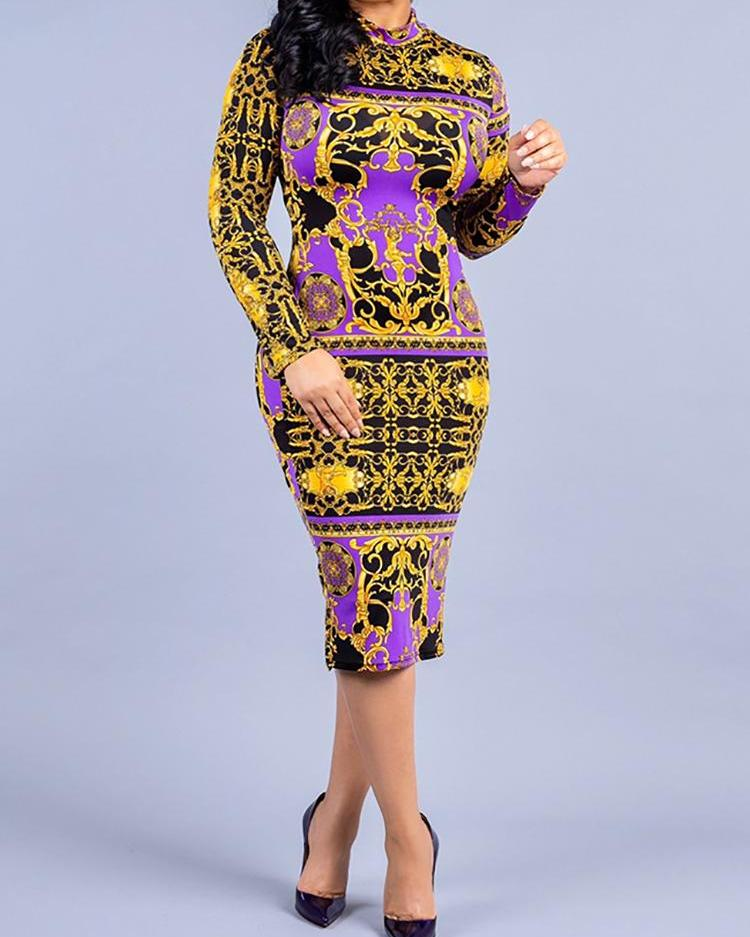 Digital Print Long Sleeve Midi Dress