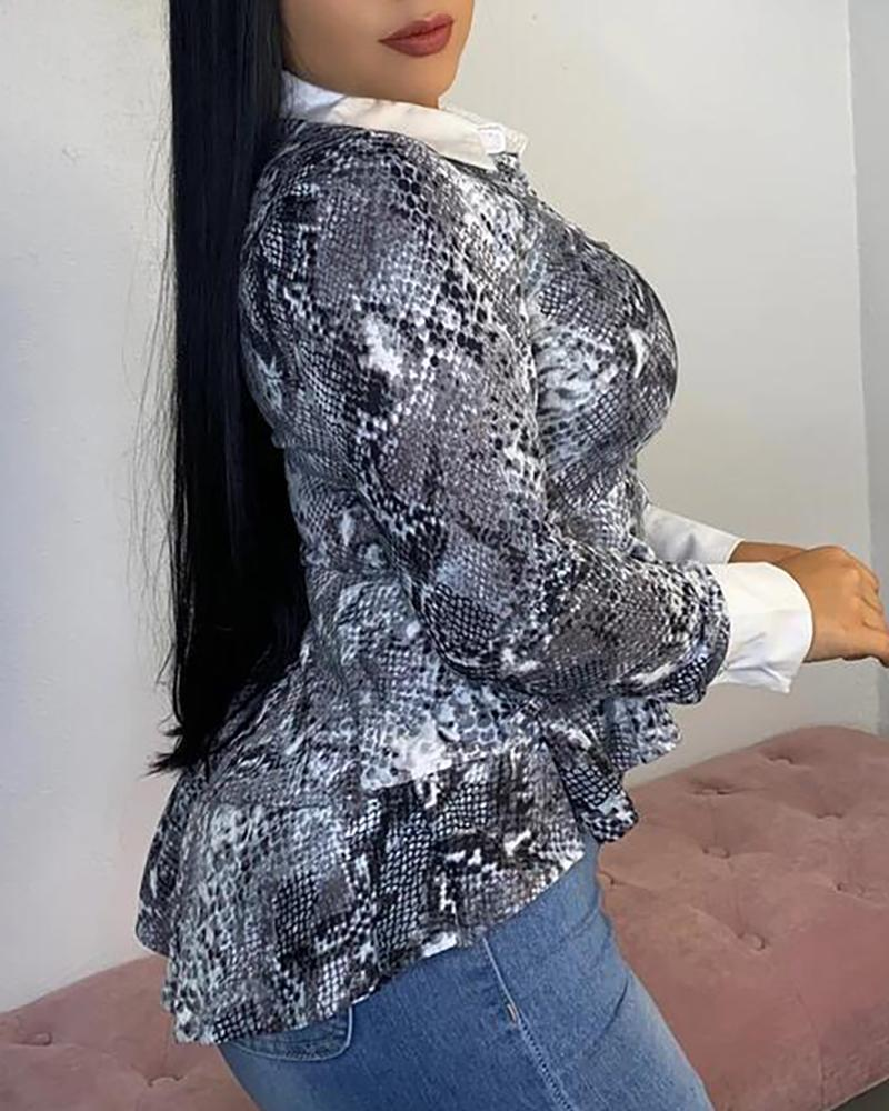 Turn-down Collar Snakeskin Ruffles Long Sleeve Blouse