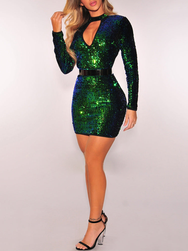 Sexy Sequins Cut Out Choker Bodycon Dress