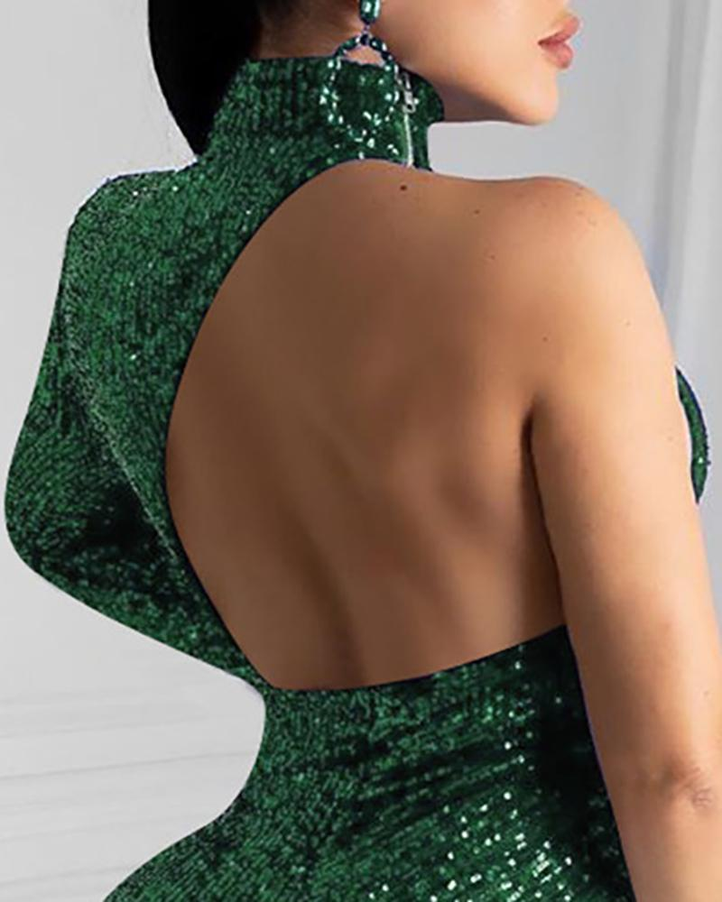 One Shoulder Backless Irregular Sequins Dress