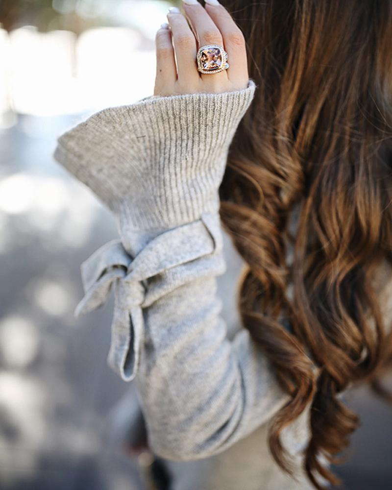 Solid Round Neck Bell Cuff Casual Sweater