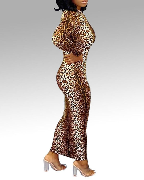 Leopard Long Sleeve Bodycon Dress