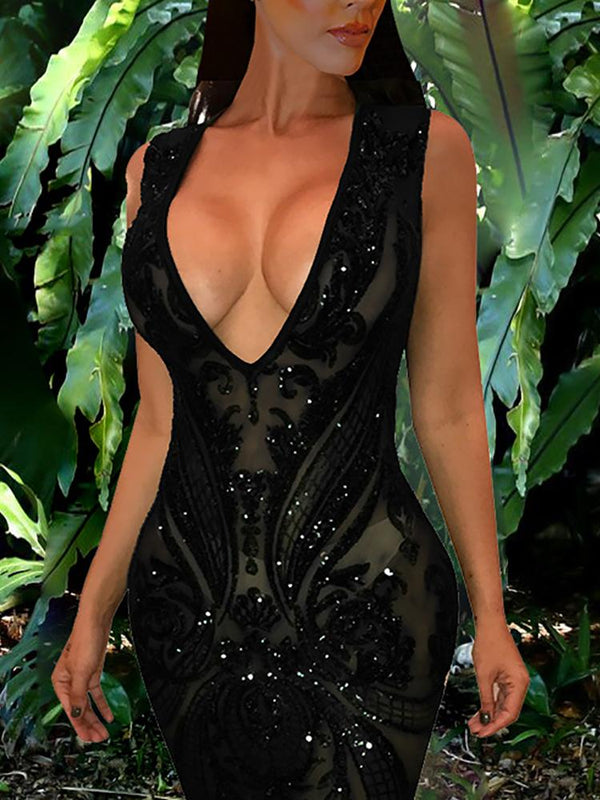 See Through Plunge Sequin Party dress