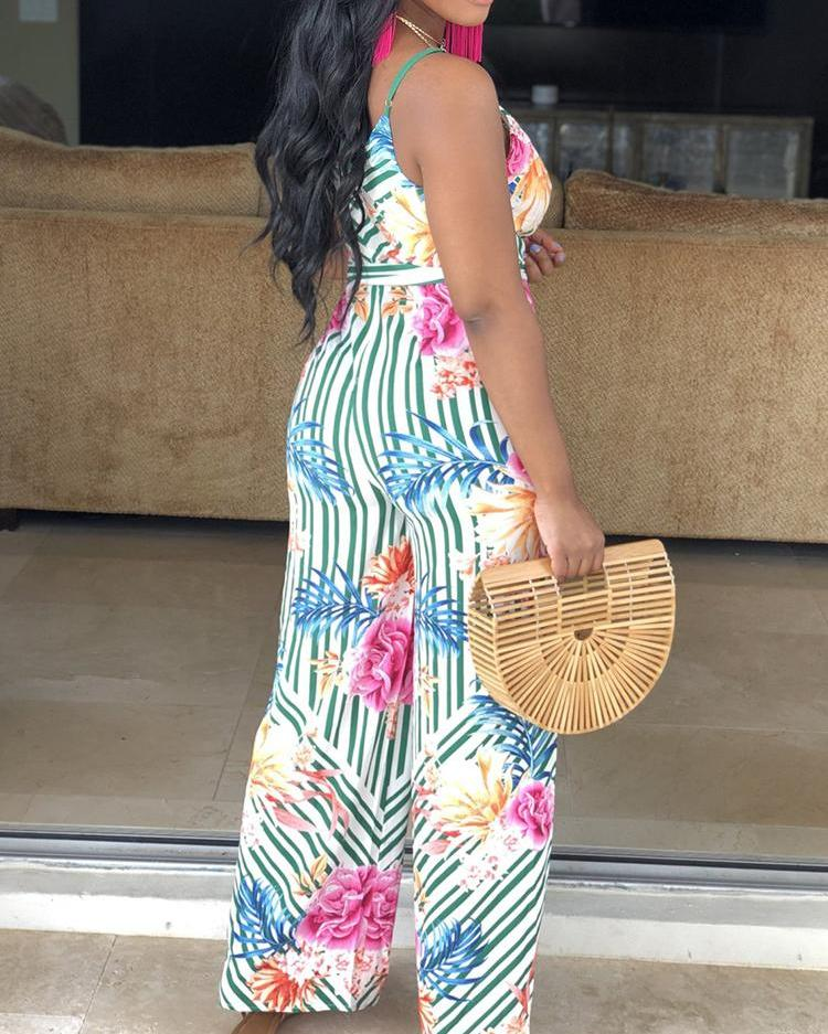 Mixed Print Wide Leg Belted Jumpsuit