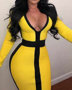 Contrast Color Long Sleeve Bodycon Dress